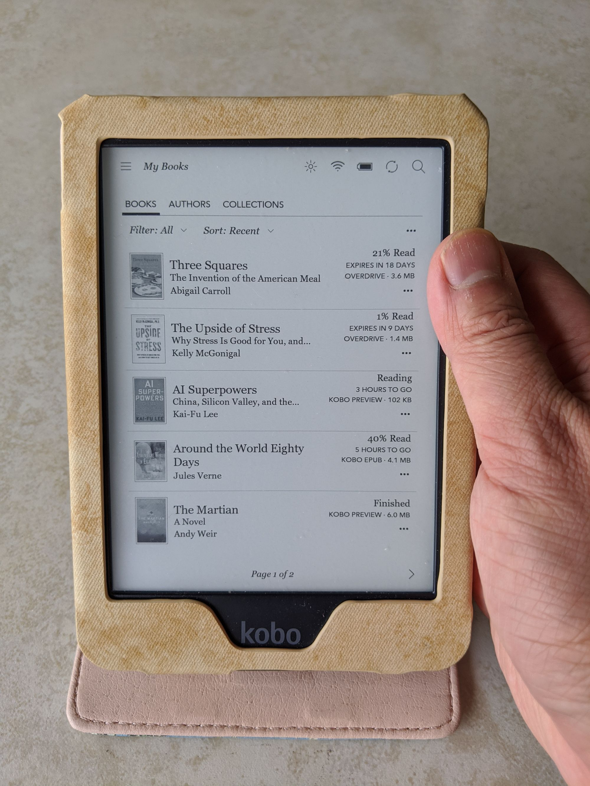 Kobo Clara HD e-reader in a protective case