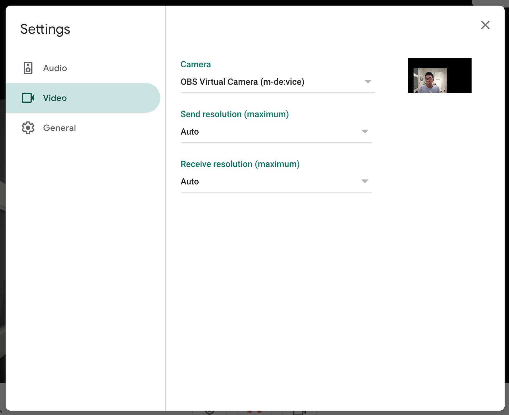 Selecting OBS Virtual Camera as the Camera in Google Meet Video settings