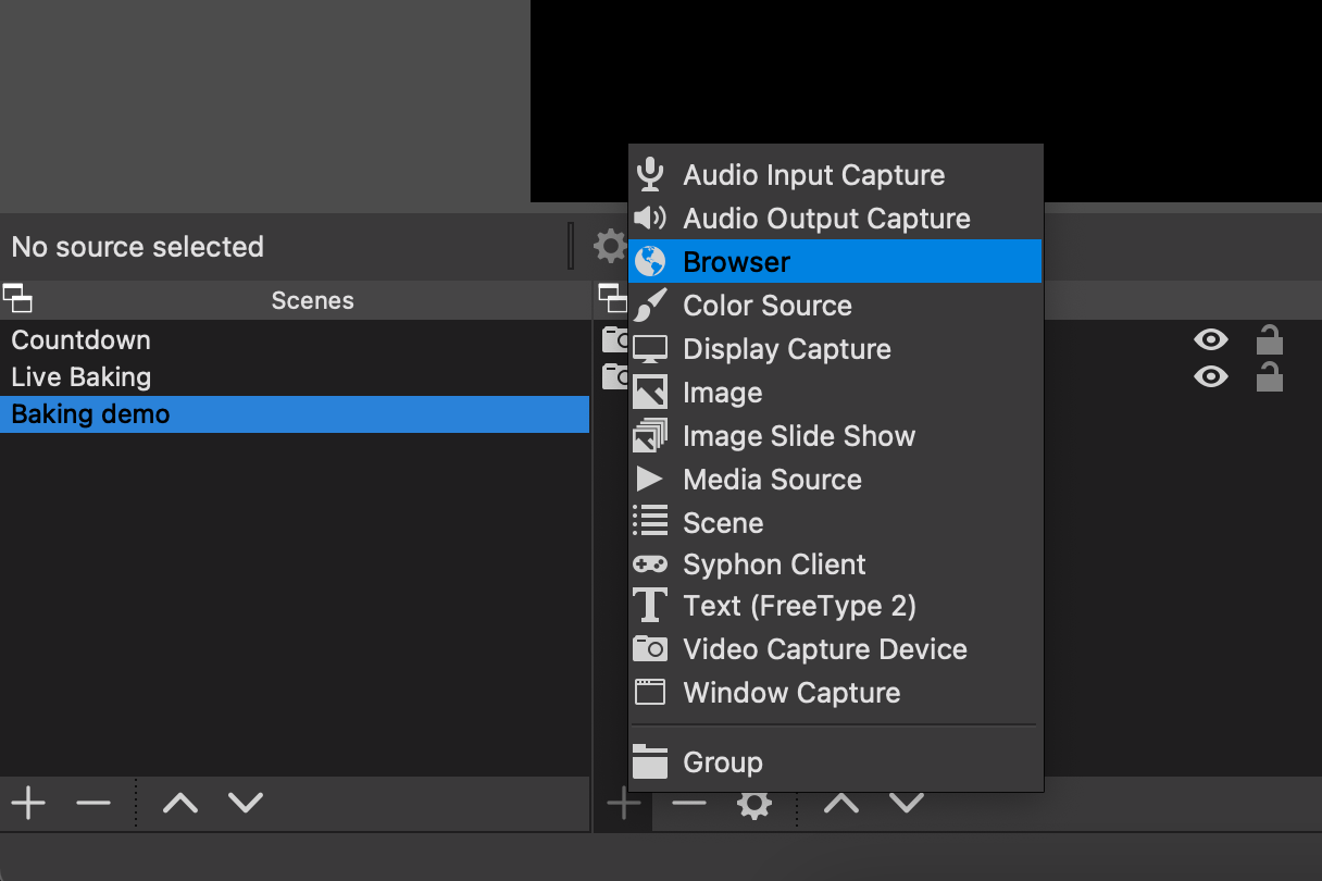 Adding a new Browser source in OBS