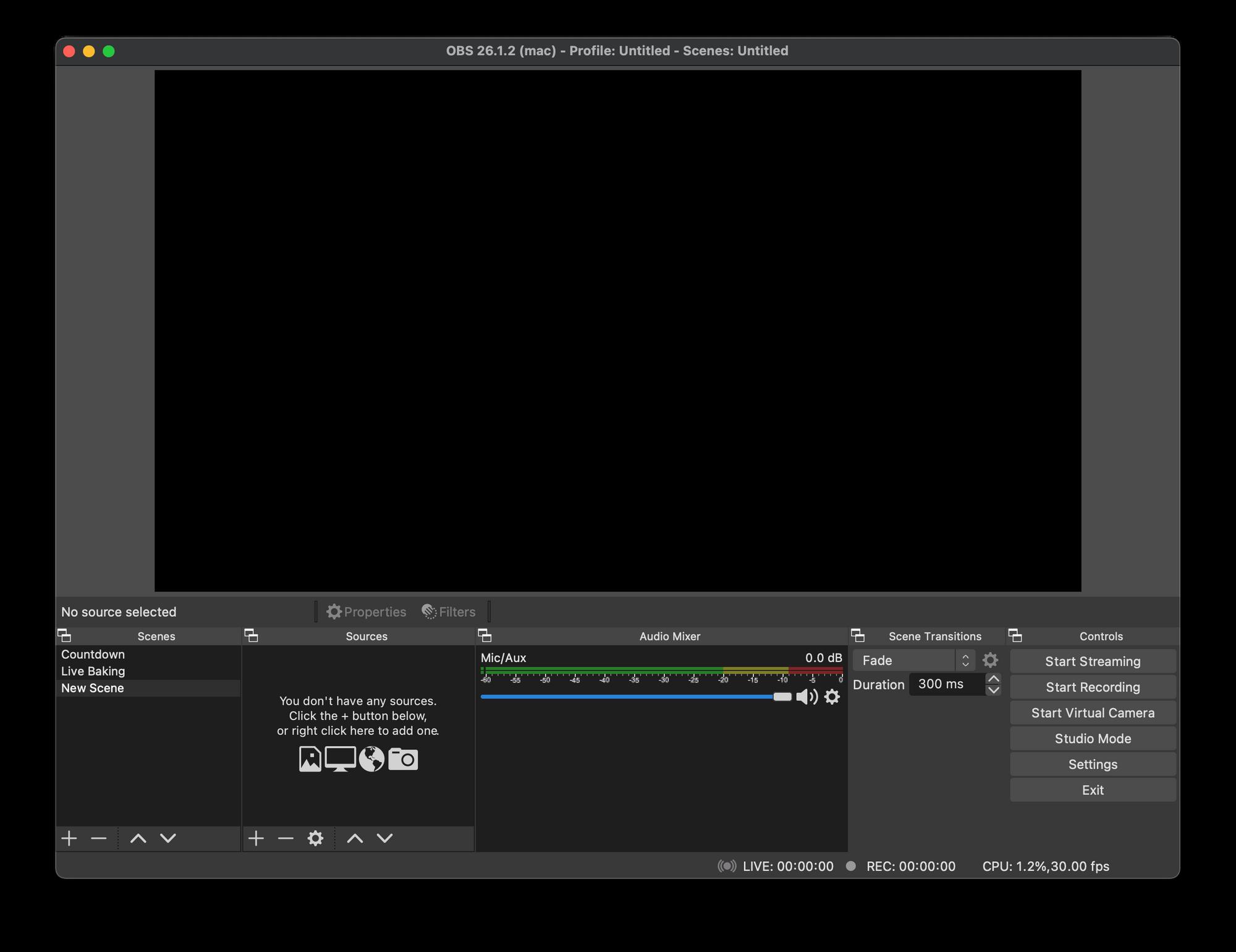 OBS Main Screen