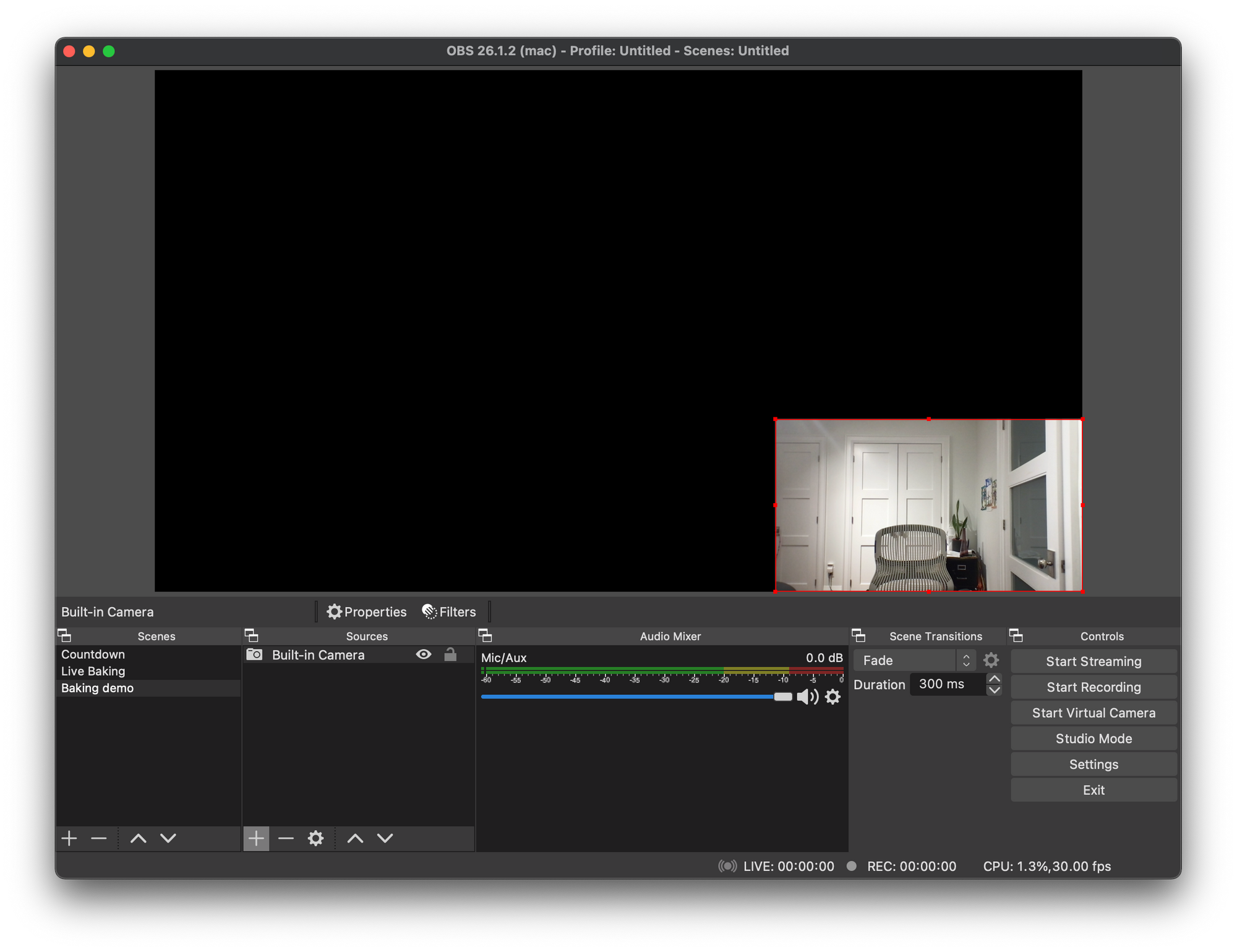 OBS scene with one video source, the built-in camera