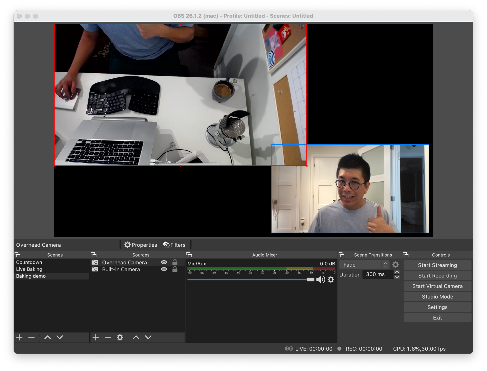 OBS scene with two video sources, the built-in camera, and an external webcam