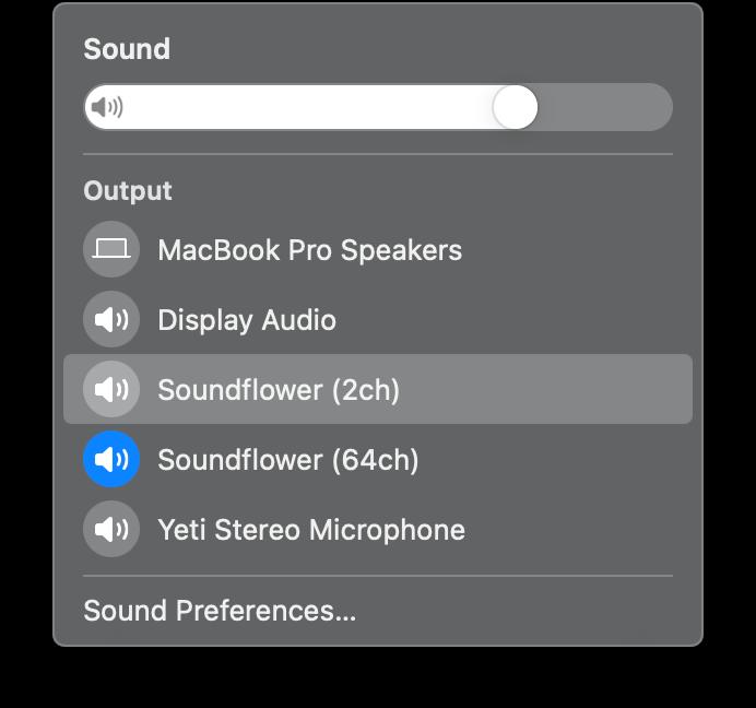 Menu bar sound menu showing new Soundflower devices